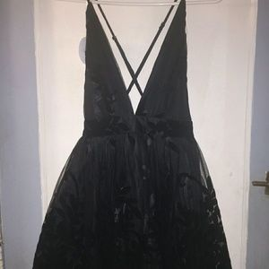 Black trendy cross back dress